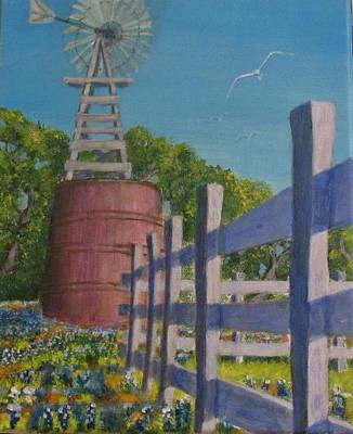 James Taylor Painting - Watertank And Bluebonnets by James Taylor