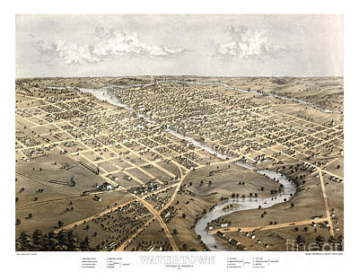 Cartography Painting - Watertown - Wisconsin - 1867 by Pablo Romero