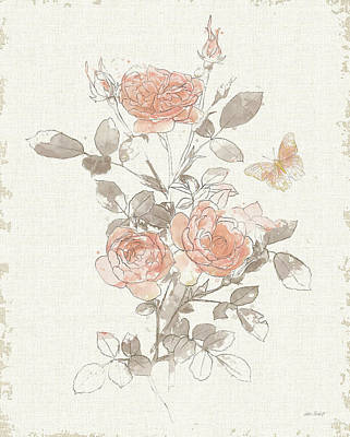 Wall Art - Painting - Watery Blooms II Gray Cream by Katie Pertiet