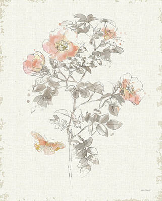 Wall Art - Painting - Watery Blooms IIi Gray Cream by Katie Pertiet