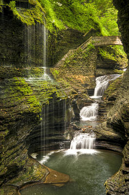 Watkins Glen Falls Art Print by Anthony Sacco