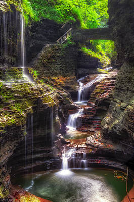 Seneca Lake Photograph - Watkins Glen Rainbow Falls by Mark Papke