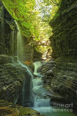 Watkins Glen Rainbow Falls Portrait Print by Adam Jewell