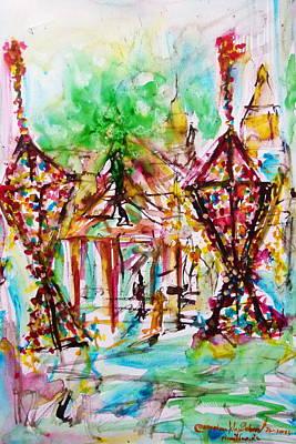 Painting - Watprasriphonchai Temple by Wanvisa Klawklean