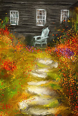 Maple Leaf Art Painting - Watson Farm - Old Farmhouse Painting by Lourry Legarde