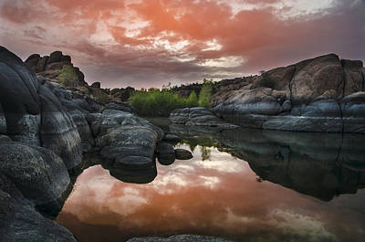 Watson Lake Reflections Photograph - Watson Lake In Pink by Dave Dilli