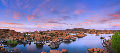 Watson Lake Reflections Photograph - Watson Lake In Prescott - Arizona by Henk Meijer Photography