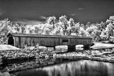 Watson Mill Covered Bridge In Infrared Art Print by Linda Mcfarland