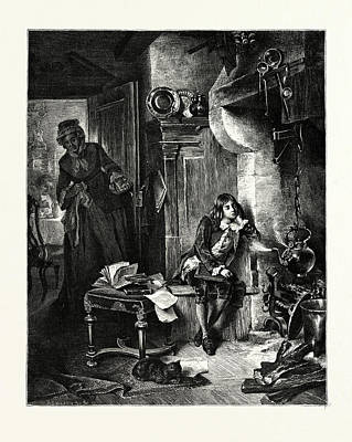 The David Art Drawing - Watt And The Kettle by David Neal, American School, 19th Century