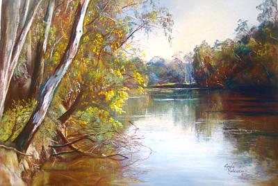 Wattle Time Goulburn River Print by Lynda Robinson