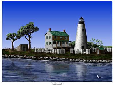Digital Art - Watt's Island Light by Patrick Belote