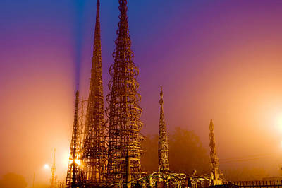Naive Art Photograph - Watts Towers At Night, Watts, Los by Panoramic Images