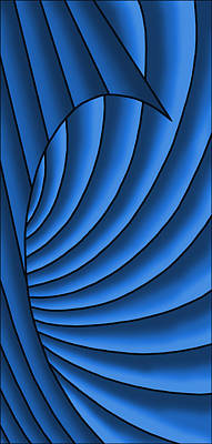 Art Print featuring the digital art Wave - Blues by Judi Quelland