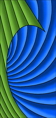 Art Print featuring the digital art Wave - Green And Blue by Judi Quelland