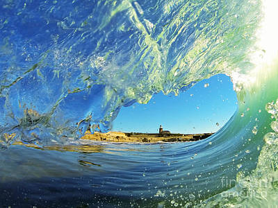 Photograph - Wave And Lighthouse 1 by Paul Topp
