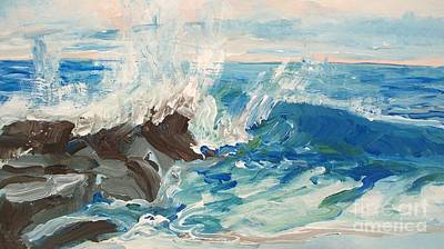 Drawing - Wave At Sunset Beach by Eric  Schiabor