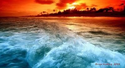 Painting - Wave By Sunset by Bruce Nutting