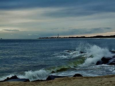 Photograph - Wave Crashing At Cape May Cove by Ed Sweeney
