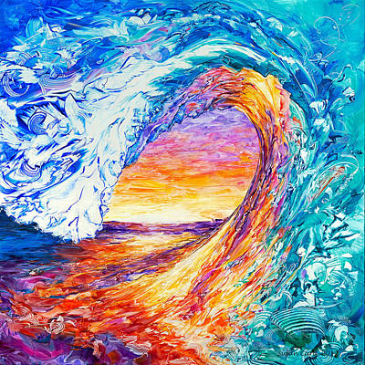 Sunset On Water Painting - Wave Of Creativity by Susan Card