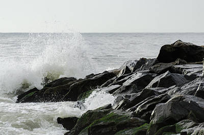 Wave On Rocks Art Print by Maureen E Ritter