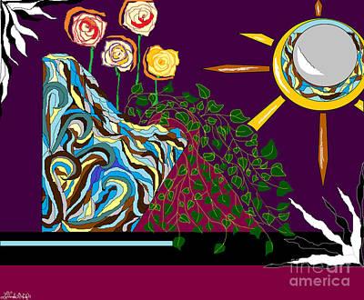 Digital Art - Wave Vase And Roses by Lewanda Laboy