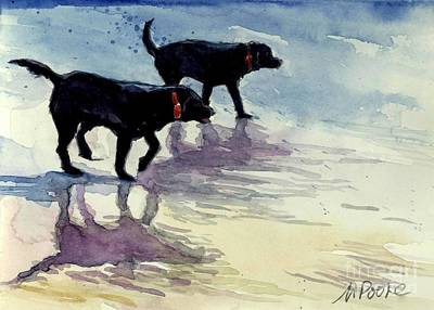 Dog On Beach Wall Art - Painting - Waverunners by Molly Poole