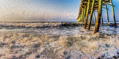 Photograph - Waves Along The Pier by David Hahn