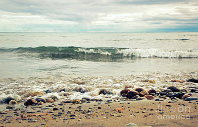 Photograph - Waves And Pebbles by Charline Xia