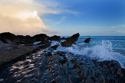 Eire Photograph - Waves And Rocks , Dungarvan Bay, County by Panoramic Images