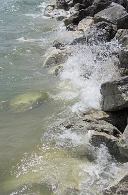 Photograph - Waves And Rocks 3 by Anita Burgermeister