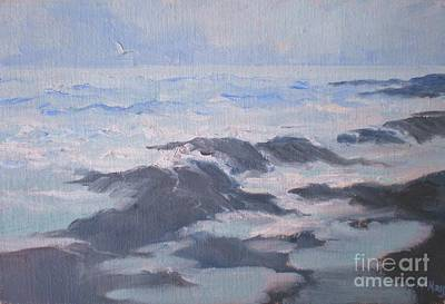 Painting - Waves And Rocks by Suzanne McKay