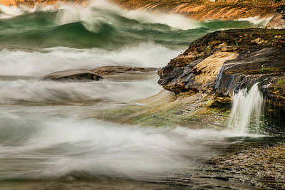 Northwoods Photograph - Waves And Small Waterfall At Miners by Adam Jones