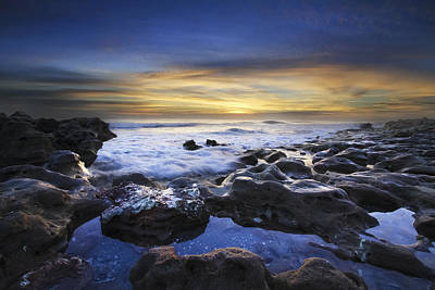 Waves At Coral Cove Beach Print by Debra and Dave Vanderlaan