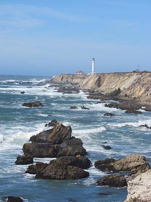Photograph - Waves Beneath The Lighthouse by Bonnie Muir