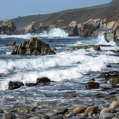 Of Big Sur Beach Photograph - Waves Break On Rocky Coast by Tom Norring
