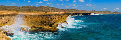 Lesser Photograph - Waves Breaking At The Coast, Aruba by Panoramic Images