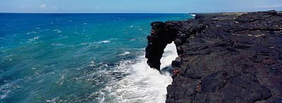 Sea Arch Photograph - Waves Breaking On Rocks, Hawaii by Panoramic Images