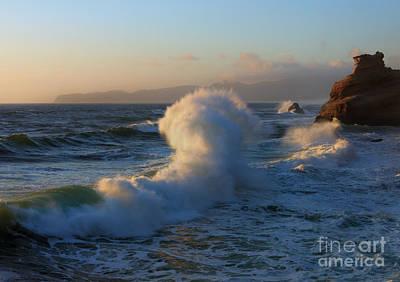 Oregon Coast Photograph - Waves Collide by Mike Dawson