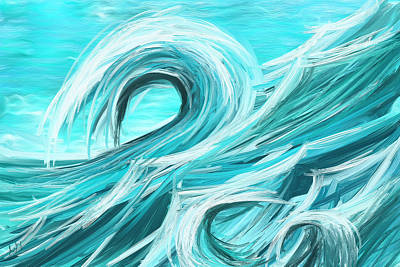 Waves Collision - Abstract Wave Paintings Art Print by Lourry Legarde