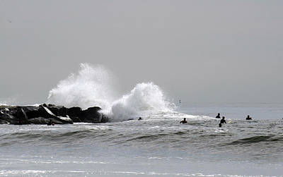 Waves Crash Against Beach 91st Jetty Art Print by Maureen E Ritter