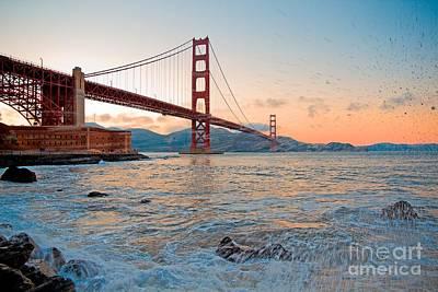San Francisco Embarcadero Photograph - Waves Crash Under The Golden Gate Bridge by Mel Ashar