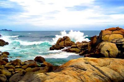 Rocky Digital Art - Waves Crashing On Shoreline Rocks by Elaine Plesser