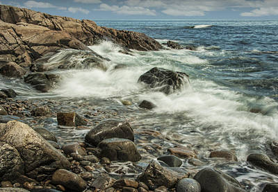 Maine Shoreline Photograph - Waves Crashing On The Shore by Randall Nyhof