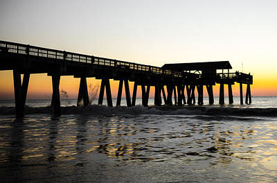 Photograph - Waves Crashing On The Tybee Island Pier At Sunrise by Anthony Doudt