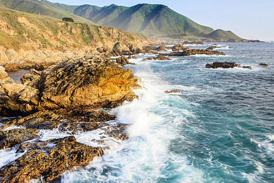 Of Big Sur Beach Photograph - Waves Create Surf On Rocks by Tom Norring