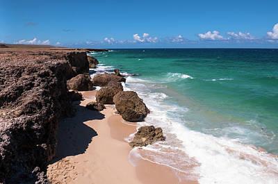 Antilles Photograph - Waves Hitting Shoreline, Arikok by Alberto Biscaro