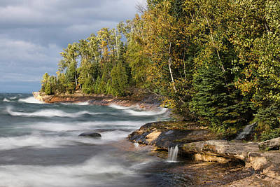 Northwoods Photograph - Waves In Lake Superior, Pictured Rocks by Adam Jones