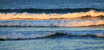 Photograph - Waves In Sunlight Long Sands Beach York Maine by Michael Saunders