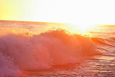 Waves In Sunset Art Print