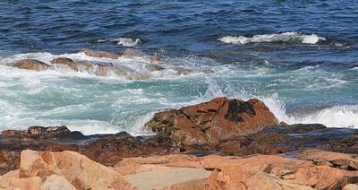 Photograph - Waves On Rocks Gloucester Ma by Michael Saunders